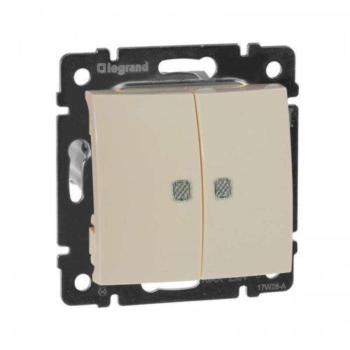 Механизм выключателя 2-кл. СП Valena 10А IP31 с зел. инд. сл. кость Leg 774328