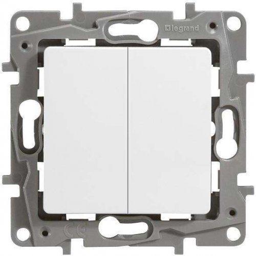 Механизм выключателя 2-кл. СП Etika 10А IP20 250В авт. клеммы бел. Leg 672202