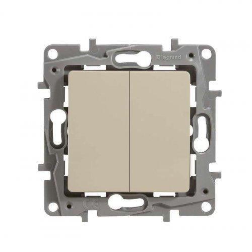 Механизм выключателя 2-кл. СП Etika 10А IP20 с подсветкой винт сл. кость Leg 672304