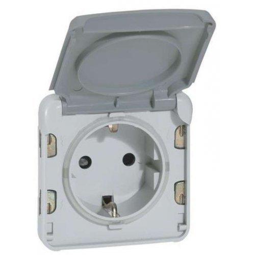 Механизм розетки 1-м СП Plexo с защ. крышкой с заземл. IP55 сер. Leg 069570