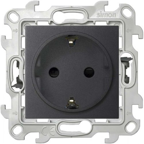 Механизм розетки 2К+З с защ. шторками Push&Go Simon24 графит 2420432-038