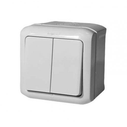 Выключатель 2-кл. ОП Quteo 10А IP44 10АХ бел. Leg 782302