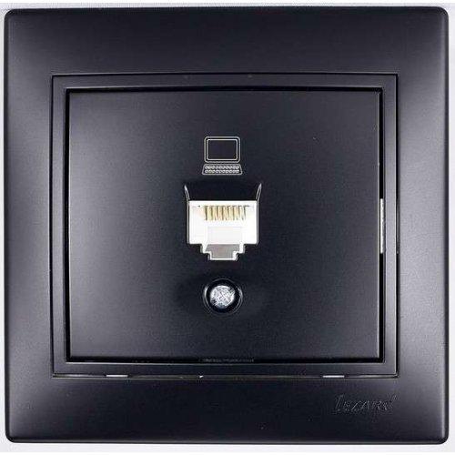 Розетка компьютерная 1-м СП Мира RJ45 черн.бархат LEZARD 701-4242-139