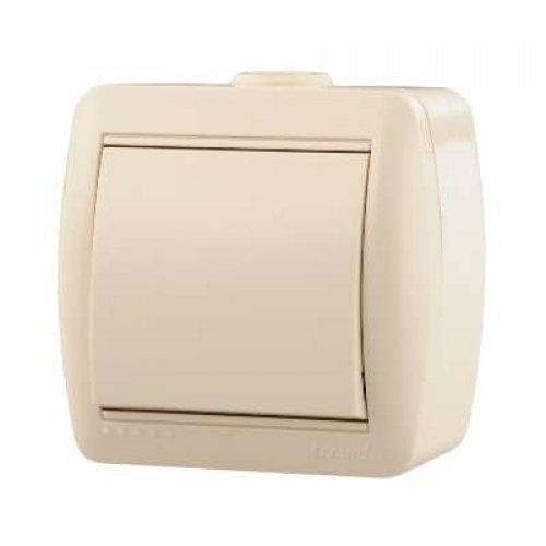 Выключатель 1-кл. ОП Ната 10А IP20 крем. LEZARD 710-0300-100