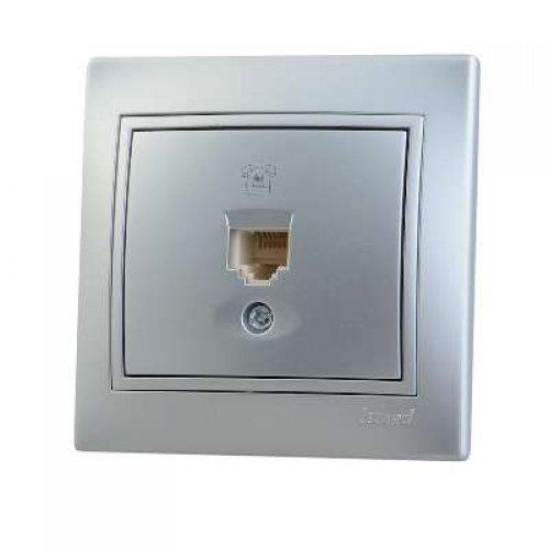 Розетка телефонная 1-м СП Мира RJ11 метал. сер. Lezard 701-1010-137