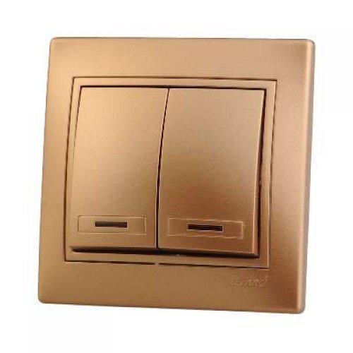 Выключатель 2-кл. СП Мира 10А IP20 с подсветкой метал. зол. LEZARD 701-1313-112