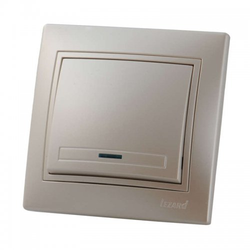 Выключатель 1-кл. СП Мира 10А IP20 с подсветкой жемчуж. бел. перламутр LEZARD 701-3030-111