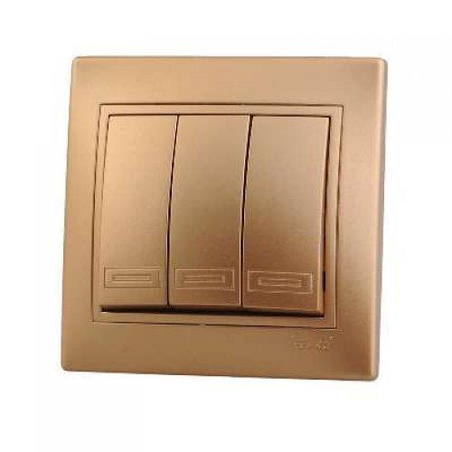 Выключатель 3-кл. СП Мира 10А IP20 метал. зол. LEZARD 701-1313-109