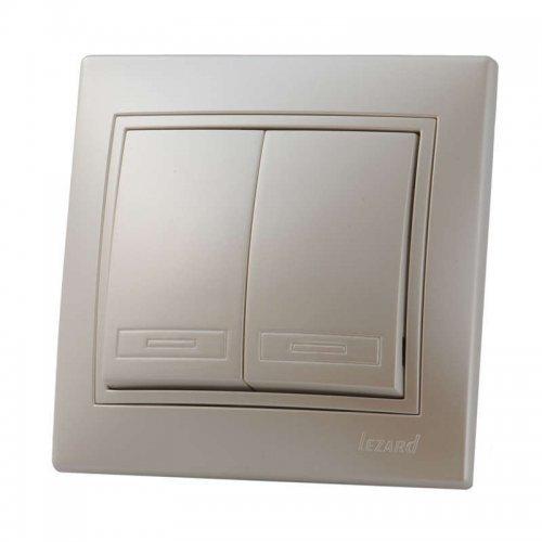 Выключатель 2-кл. СП Мира 10А IP20 жемчуж. бел. перламутр LEZARD 701-3030-101