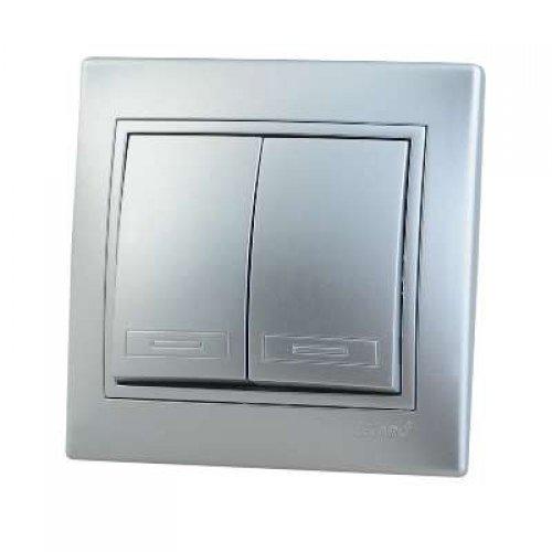 Выключатель 2-кл. СП Мира 10А IP20 метал. сер. LEZARD 701-1010-101