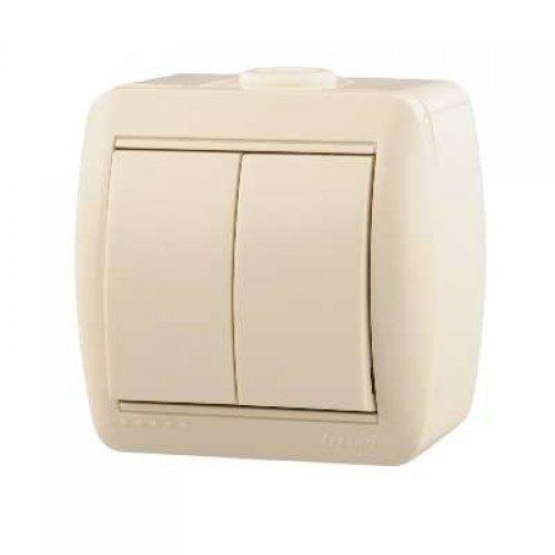 Выключатель 2-кл. ОП Ната 10А IP20 крем. LEZARD 710-0300-101