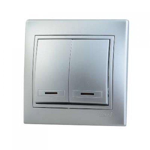 Выключатель 2-кл. СП Мира 10А IP20 с подсветкой метал. сер. LEZARD 701-1010-112