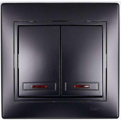 Выключатель 2-кл. СП Мира 10А IP20 с подсветкой черн. бархат LEZARD 701-4242-112