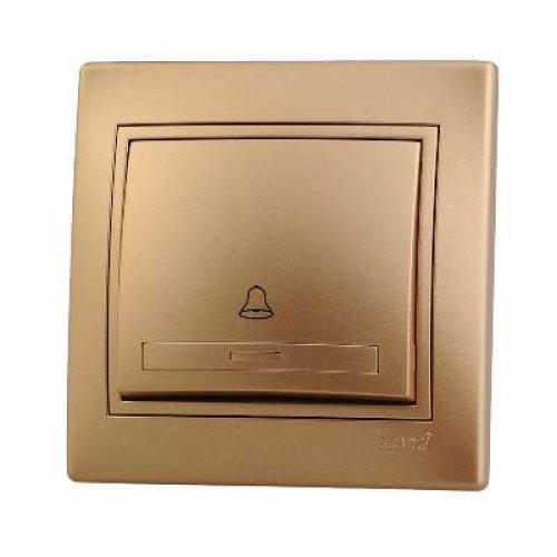 Выключатель кнопочный 1-кл. СП Мира метал. зол. Lezard 701-1313-103