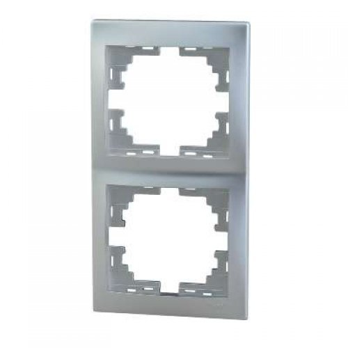 Рамка 2-м Мира верт. метал. сер. Lezard 701-1000-152