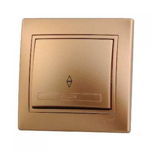 Выключатель проходной 1-кл. СП Мира 10А IP20 метал. зол. LEZARD 701-1313-105