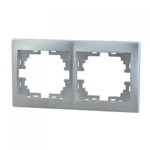 Рамка 2-м Мира горизонт. метал. сер. Lezard 701-1000-147