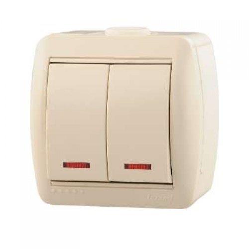 Выключатель 2-кл. ОП Ната 10А IP20 с подсветкой крем. LEZARD 710-0300-112
