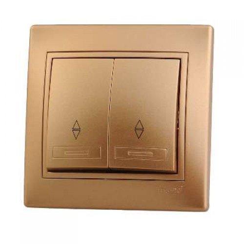 Выключатель проходной 2-кл. СП Мира 10А IP20 метал. зол. LEZARD 701-1313-106