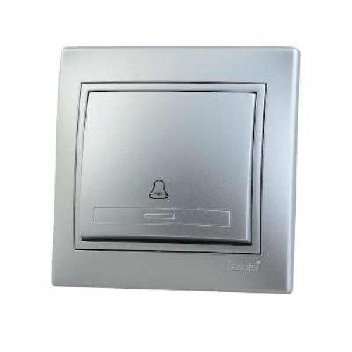 Выключатель кнопочный 1-кл. СП Мира метал. сер. Lezard 701-1010-103