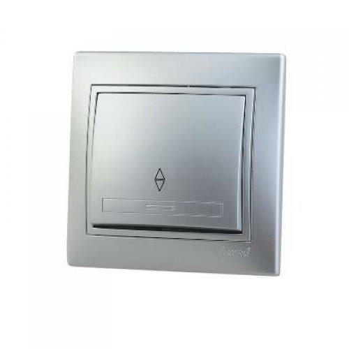 Выключатель проходной 1-кл. СП Мира 10А IP20 метал. сер. LEZARD 701-1010-105
