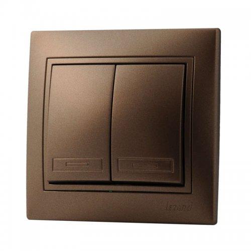 Выключатель 2-кл. СП Мира 10А IP20 свет. корич. перламутр LEZARD 701-3131-101