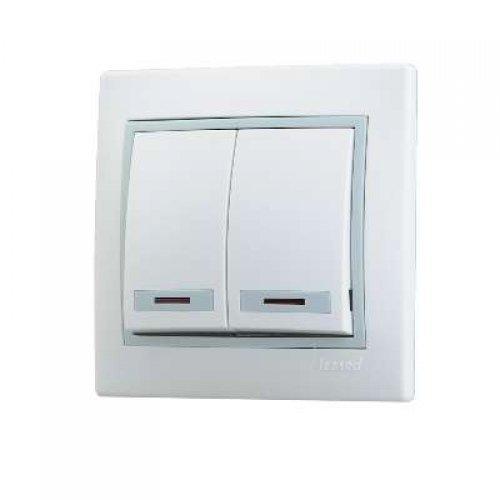 Выключатель 2-кл. СП Мира 10А IP20 с подсветкой бел./сер. LEZARD 701-0215-112