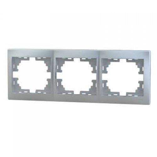 Рамка 3-м Мира горизонт. метал. сер. Lezard 701-1000-148