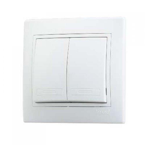 Выключатель 2-кл. СП Мира 10А IP20 бел./бел. LEZARD 701-0202-101