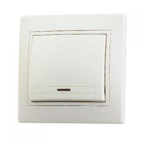 Выключатель 1-кл. СП Мира 10А IP20 с подсветкой крем./крем. LEZARD 701-0303-111