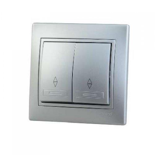 Выключатель проходной 2-кл. СП Мира 10А IP20 метал. сер. LEZARD 701-1010-106