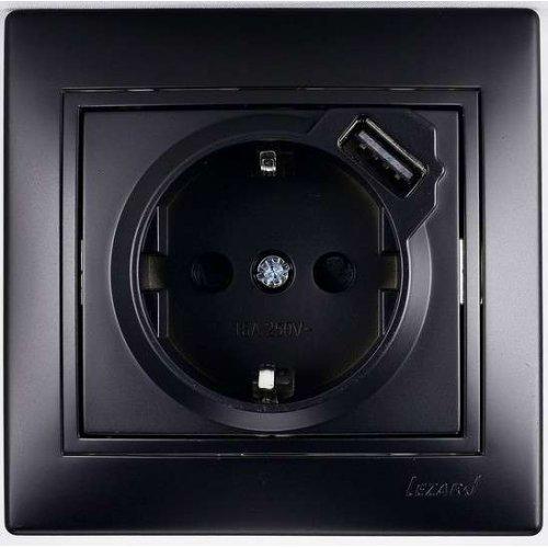 Розетка 1-м СП Мира 16А с з/к + USB разъем черн. бархат LEZARD 701-4242-181