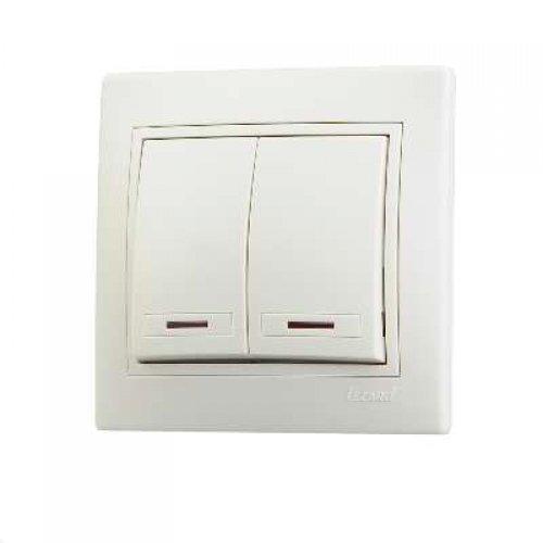 Выключатель 2-кл. СП Мира 10А IP20 с подсветкой крем./крем. LEZARD 701-0303-112