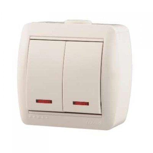 Выключатель 2-кл. ОП Ната 10А IP20 с подсветкой бел. LEZARD 710-0200-112