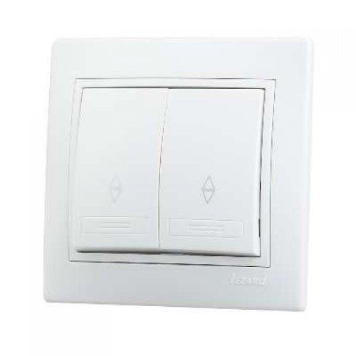 Выключатель проходной 2-кл. СП Мира 10А IP20 бел./бел. LEZARD 701-0202-106