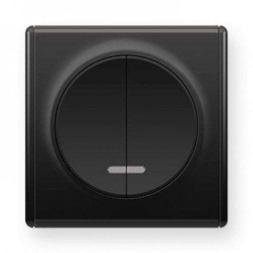 Механизм выключателя 2-кл. СП Florence 10А IP20 с подсветкой черн. OneKeyElectro 2172825