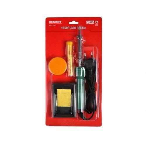 Набор для пайки №11 (паяльник 30Вт подставка губка для удаления припоя канифоль припой) Rexant 12-0165